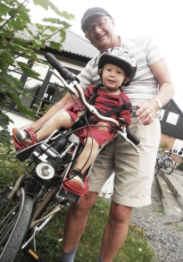 teaching grandson to cycle