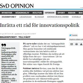 Inrätta ett råd för innovationspolitik