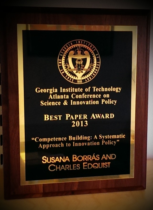 Best Award 2013, Atlanta Conference on Science and Innovation Policy