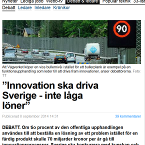 Debate Article: Innovation shall drive Sweden – not low wages