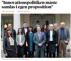 Debate Article: Innovationspolitiken måste samlas i en egenproposition