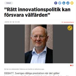 Debate article in NyTeknik