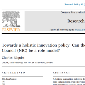 Towards a holistic innovation policy: Can the Swedish National Innovation Council (NIC) be a rolemodel?