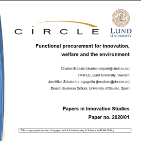 """Functional procurement for innovation, welfare and the environment"" accepted for publication in Science and Policy"