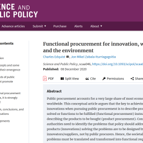 """""""Functional procurement for innovation, welfare, and the environment"""" now published in Science and PublicPolicy"""